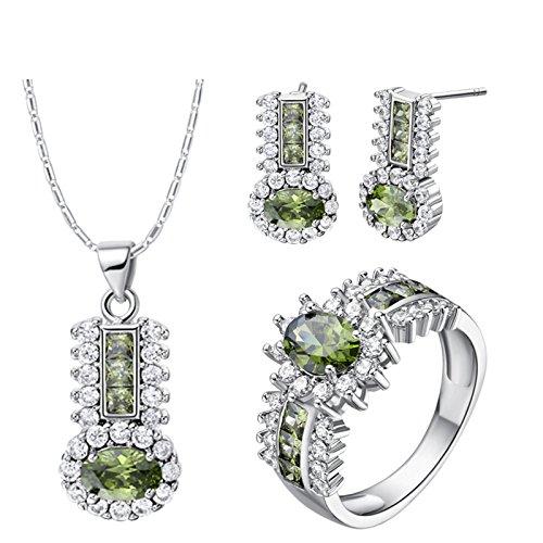 Amody Silberplatten Frauen Schmuck Set Kristall CZ Halo Ring Ohrringe Hochzeit-Set Grün Größe 54 (17.2)