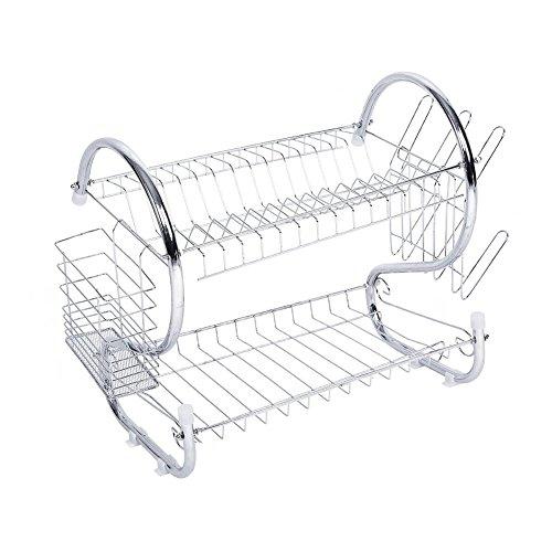 Escurreplatos para secador, vajilla, escurridor de dos niveles, soporte para tendedero de platos, cuencos y tazas