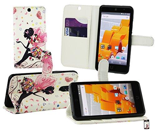 Emartbuy® Wileyfox Swift 2 Plus/Wileyfox Swift 2 Wallet Etui Hülle Hülle Cover aus PU Leder mit Kreditkartenfächern - Fee Mädchen