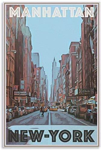 Tankaa Póster vintage de viaje de Nueva York, póster de arte moderno, para oficina, dormitorio, decoración de pared, 60 x 90 cm