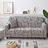 SZYUY - Funda de sillón extensible, funda de sofá estampada, funda de sofá elástica, funda de sofá para sofá, funda de sofá, funda de sofá para muebles, poliéster de elastano, rayas de flores grises