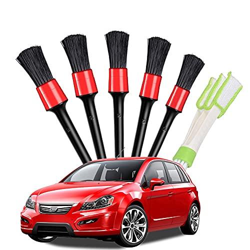 Kromini Juego de cepillos de limpieza, juego de cepillos de limpieza para coche, cepillos para detalles del coche, cepillo de limpieza para el coche, juego de pinceles para el cuidado del coche