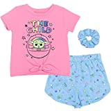 STAR WARS Baby Yoda Big Girls T-Shirt French Terry Shorts Scrunchie 7-8 Pink/Blue
