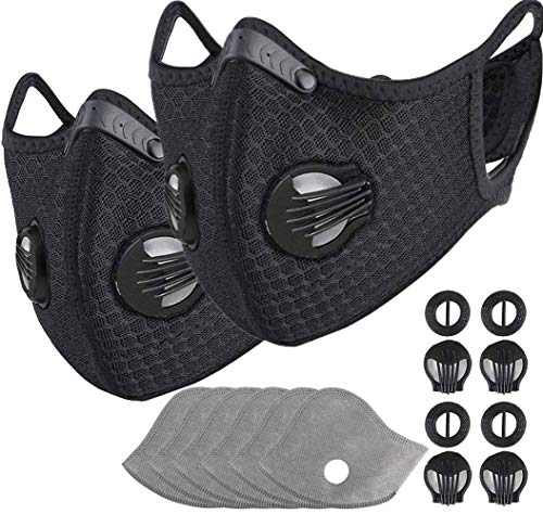2 Pack Black Reusable Dust Face Guard with 6Pcs Additional Activated Carbon Filter for Outdoor Sport
