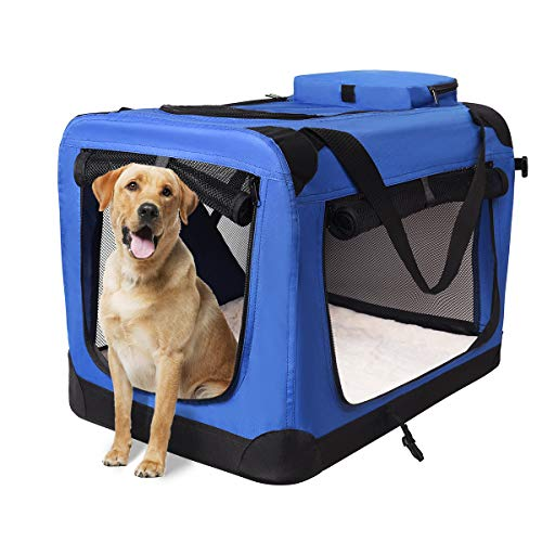 "motor-mh Portable 3-Door Folding Soft Dog Crate, Indoor & Outdoor Pet Home for Dogs, Cats, Rabbits 36"" L x 24"" W x 28"" H Blue Basic Crates"