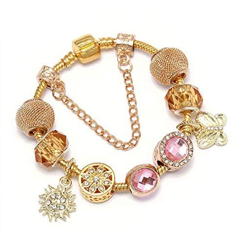 Oro Color Charms Pulseras Con Sol Y Mariposa Perlas Colgantes Ajuste Pulsera Para Mujeres Moda Joyería Regalo C01 18cm