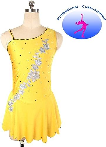 CUIXI Robe De Patinage Artistique Femmes Patinage sur Glace Asymétrie Fleurs Brodées Danse Perforhommece Compétition Patinage Jaune