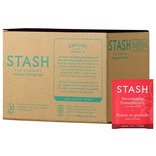 Stash Tea Strawberry Pomegranate Red Herbal Tea 100 Tea Bags in Foil (packaging may vary) Individual Herbal Tea Bags for Use in Teapots Mugs or Cups, Brew Hot Tea or Iced Tea
