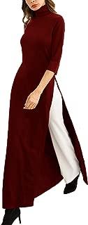 Women's Long Sleeve Turtleneck Bodycon Maxi Dress Side Slit Long Tunic Knitwear Robe Jupe
