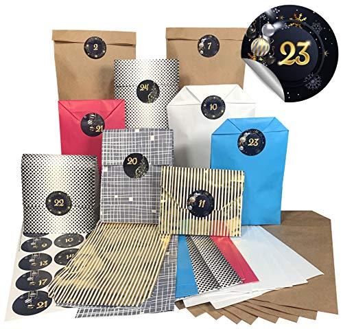 endlosschenken Adventskalender Kraftpapiertüten mit 24 Papiertüten weihnachtlichen Aufklebern zum Basteln (schwarz/Gold)