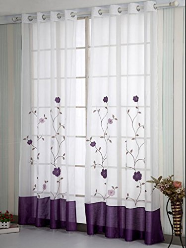 SIMPVALE 1 Pieza Cortinas Visillos Bordado Floral para Balcon, Salón, Habitación, Dormitorio y Cámara, Anchura 140 cm, Púrpura, Altura 245cm