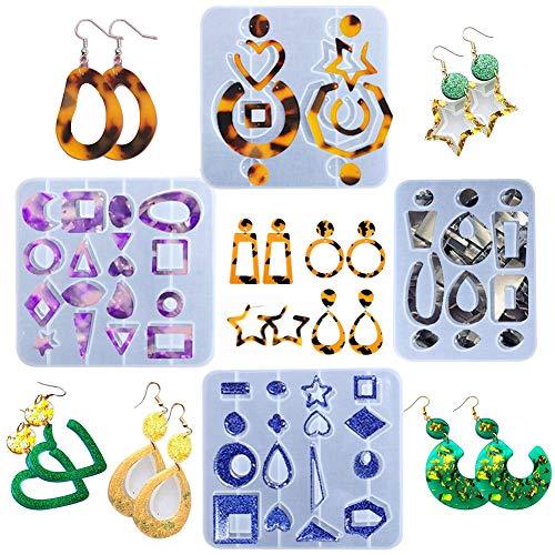 Calistouk 4pcs Moldes de Resina de Silicona para Hacer Pendiente Joyas Moldes de Resina de epoxi Bohemian Drop Dangle Style para Mujeres DIY Colgante Craft