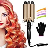3 Barrel Curling Iron Wand Hair Waver Iron Ceramic Tourmaline Hair Crimper with 4 Pieces Hair Clips and Heat Resistant Glove, Curling Waver Iron Heating Styling Tools (Gold)