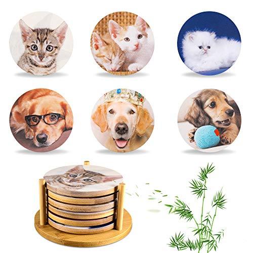 Yoassi Tier Untersetzer 6er Set, Hunde & Katzen Motive Untersetzer aus Bambusholz im Ständer Dekorative Untersetzer für Glas, Tassen, Vasen, Kerzen auf ihrem Esstisch - Ø 10.2 x 0.7 cm