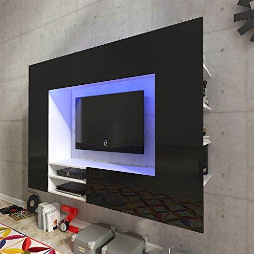 vidaXL Hochglanz Mediawand Wohnwand LED TV-Wand schwarz 169,2 cm - 2
