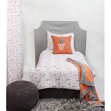 Bacati Muslin 4 Piece Toddler Bedding Set, Basketball/Orange/Grey