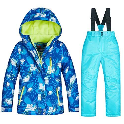 SXSHUN Kinder Jungen Mädchen Skianzug Zweiteilig Verdickte Skijacke + Skihose Wasserdicht und Winddicht Thermal, C Blau # 2, 104/110