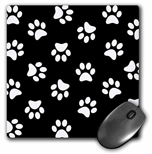 3dRose 8 x 8 x 0 25 Inches Black and White Paw Print Pattern Pawprints Cute Cartoon Animal Dog or Cat Footprints Mouse Pad (mp_161522_1)
