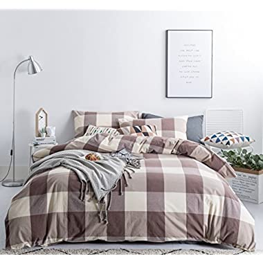 SUSYBAO 3 Pieces Duvet Cover Set 100% Natural Washed Cotton Queen Size 1 Duvet Cover 2 Pillowcases Luxury Soft Breathable Comfortable Lightweight Durable Khaki Checkered Plaid Bedding with Zipper Ties
