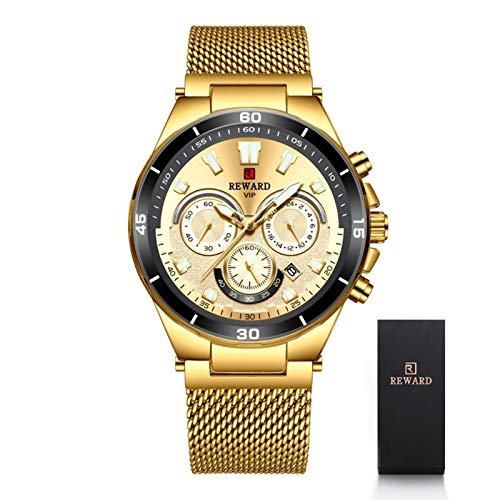 CHICAI Relojes de moda para hombre de la marca superior de lujo con esfera grande militar de cuarzo reloj de acero completo resistente al agua, cronógrafo deportivo para hombres (color : caja dorada)