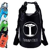 FUNNY TREE® Drybag. (10L schwarz) Wasserdichter (IPx6), verbesserter DryBag, schwimmfähig. Inklusive wasserdichter Handy-Hülle | Stand Up Paddle | Wassersport | Ski-Fahren | Snow-Boarden | Tauchen