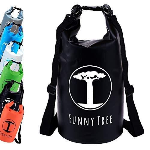 Funny Tree® Drybag. (20L schwarz) Wasserdichter (IPx6), verbesserter DryBag, schwimmfähig. Inklusive wasserdichter Handy-Hülle | Stand Up Paddle | Wassersport | Ski-Fahren | Snow-Boarden | Tauchen