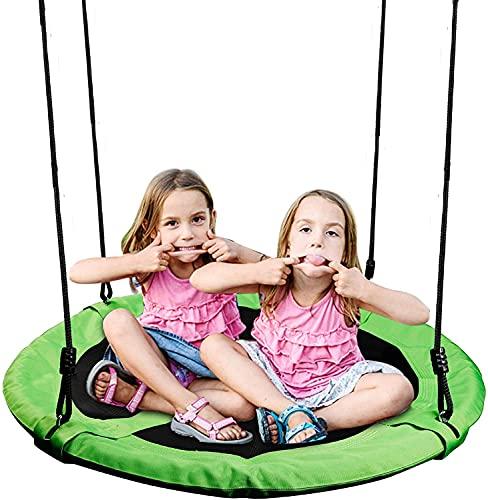 JINSIJU Columpio de nido para platillos de 101,6 cm para niños y adultos, columpios redondos y gorilas de silla para jardín, patio al aire libre, patio trasero (verde)