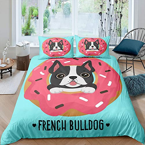Manfei Cute Dog Comforter Cover Set French Bulldog Puppy with Sweet Pink Donut Duvet Cover Animal Bedding Set 3pcs for Kids Soft Polyester Quilt Cover with 2 Pillow Cases(No Comforter) Full Size