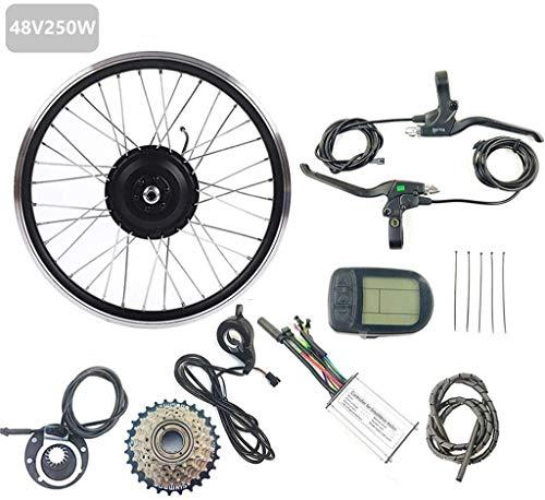 Umrüstsatz für Elektrofahrräder / Elektro-Fahrrad-Zubehör-Kit 48V 250W hinten Elektro-Fahrrad Umbausatz Brushless Motor-Rad mit LCD 5 Anzeige 16-28 Zoll 700C Vorderrad-Umbausatz, 26-Zoll-LCD-Sets Pass