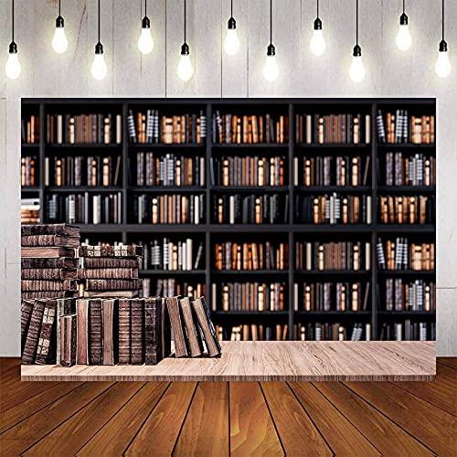 Fondo de fotografía, Libro de estantería de Madera Vieja para Estudio de Biblioteca, Retrato de niño, Fondo de fotografía de cumpleaños, Estudio A2, 10x10ft / 3x3m