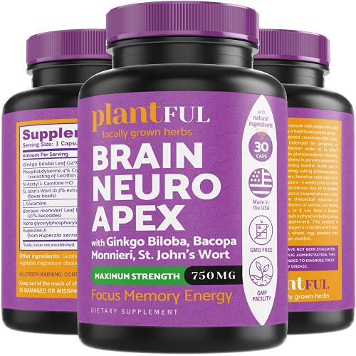 Nootropic Brain Supplement for Focus, Energy, Memory & Clarity Booster   Fast Absorption Brain Vitamins for Adults – Nootropics Pills with Ginkgo Biloba, St Johns Wort, Bacopa Monnieri