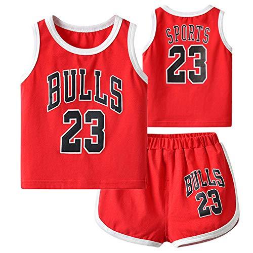 Bestickte Basketballtrikots für Kinder Bulls Jordrn # 23, Top und Shorts 2-teiliges Set Ärmellose Basketballtrikots Playsuit Crawling Suit-red-66(cm)