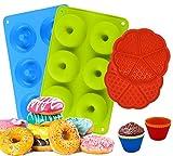 MYCKstore, 2 Moldes de Silicona Donuts resistente para hornear, 2 Moldes Gofre silicona Juego de 6...