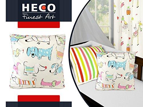 """Markenqualität von Heco """"Amici"""" oder """"Tom"""" oder """"Bodo"""" - Fertigvorhang oder Kissenhülle mit Boden - kunterbunte Streifen und Tiermotive in Kombination, Bodo [Kissenhülle mit Boden]"""
