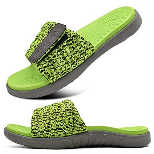 ONCAI Verde Sandalias de Piscina Hombre Punta Abierta Correa Ajustable Pantuflas Verano Ortesis de Soporte de Arco Deportes Zapatillas Playa Talla 41