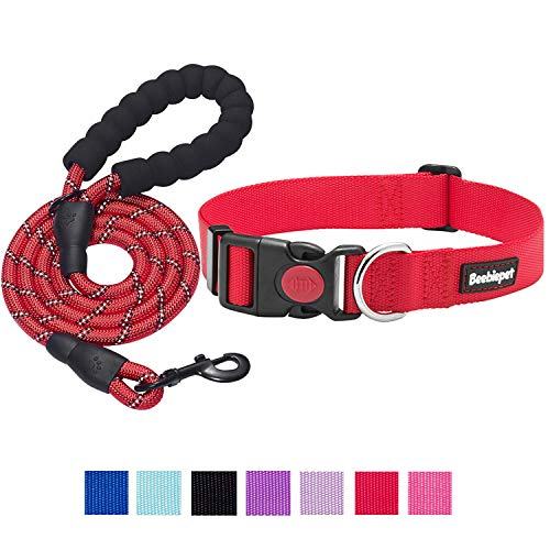 beebiepet Classic Nylon Dog Collar with Quick Release Buckle Adjustable Dog Collars for Small Medium Large Dogs with a Free 5 ft Matching Dog Leash (L Neck 17