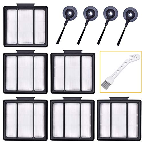 Sauberlife 11Pack Replacement Parts HEPA Filter and Side Brushes for Shark ION Robot S87 R85 RV700_N RV720_N RV750_N RV850 RV850BRN RV851WV RV850BRN/WV (6filter+4side Brushes+1clean Brush) Dining Features Filters Kitchen Upright