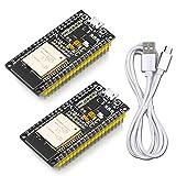 WayinTop ESP32開発ボード Wi-Fi + BLEモジュール ESP-WROOM-32実装済み デュアルコア 技適取得済み 2個入り 専用USBケーブル付き