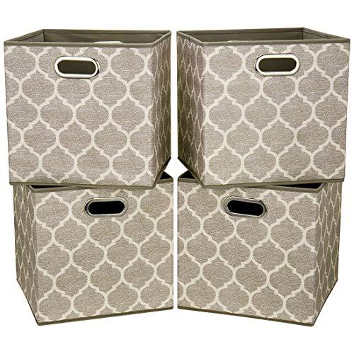 i BKGOO Cajones de almacenamiento grandes plegables Juego de 4 cajones de tela Cubos Organizador de cestas con asas metálicas dobles para estantería Gabinete Librería Farol gris-marrón 33x33x33 cm
