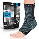 POWERLIX Ankle Brace Compression Support Sleeve (Pair) for Injury Recovery, Joint Pain and More. Plantar Fasciitis Foot Socks with Arch Support, Eases Swelling, Heel Spurs, Achilles Tendon