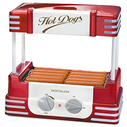 Nostalgia HDR8RR Hot Dog Warmer 8 Regular Sized, 4 Foot Long and 6 Bun Capacity, Stainless Steel Rollers, Perfect For Breakfast Sausages, Brats,...