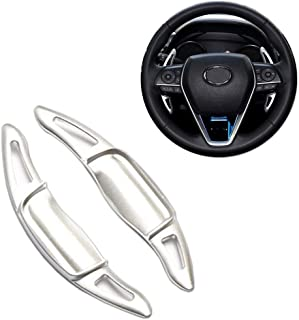 Miniclue Aluminum Steering Wheel Paddle Shifter Extensions Covers For 2018 2019 Toyota Camry (Silver Matte Finish)