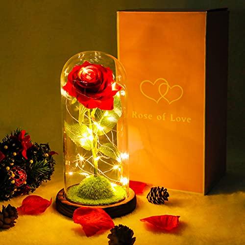 JUSTDOLIFE Beast Rose, Eternal Rose, Forever Rose In Glass Dome, Ideas de Regalos para Mujeres para El DíA de San ValentíN, DíA de la Madre, DíA de Acción de Gracias, Cumpleaños, En Cualquier Ocasión