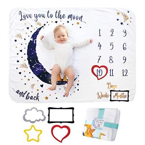 Baby Monats Decke für Jungen und Mädchen Unisex | Baby Meilenstein Decke Fotodecke | Babydecke mit Monat als Geschenk zur Geburt | Babys Meilensteine in Wachstum & Alter Verfolgen | Weich Dick Groß