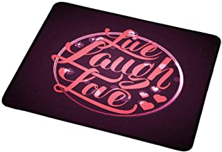 Gaming Mouse Pad Customized Live Laugh Love Decor,Vibrant Romantic Vintage Stamp Inspired Circle Popular Saying,Coral Plum White,Custom Design Gaming Mouse Pad 9.8