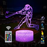 Baseball Man 3D Lamp Night Light with Remote & Touch Control,Multiple Colour & Flashing Modes and Brightness Adjusted,USB & Batteries Powered,Best Gifts for Sport Lovers Boys Girls (Baseball Man-2)
