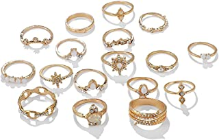 Ricjurzzty 16PCS Women Rings Set Knuckle Rings Gold Bohemian Rings for Girls Vintage Gem Crystal Rings Joint Knot Ring Set...