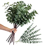 12 Artificial Eucalyptus Stems with Fake Leaves – Decorative Arrangements Set Jumbo and Normal...