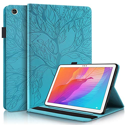 CaseFun Custodia per Huawei MatePad T10S T10 2020 tablet Sottile PU Pelle Albero della vita Modello Flip Portafoglio Custodia Cover antiscivolo con portamatite, Huawei MatePad T 10S   T 10 Blu