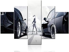 SILUYU Super Car Picture The Fast and Furious Canvas Sports Racing Cars Paintings 5 Unids/Multi Panel Wall Art Obra Moderna Decoración para El Hogar para Sala De Estar,Talla S:100 * 50Cm